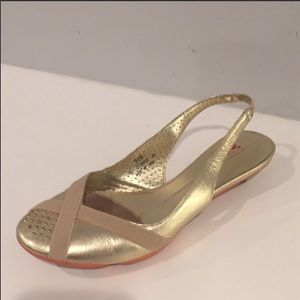 NIKE LAB G SERIES Gold Leather Slingback  Size 5.5